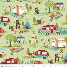 Riley Blake Designs Fabric. Road Trip Cottons. Road Main in Green.  By The FQ