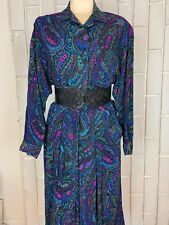 Vintage Raoul Leather Trim Paisley Button Top Dress 80s 14 Long Sleeve Large