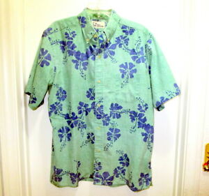 Vintage Reyn Spooner Hawaiian Floral Green Shirt Button Down Size Large