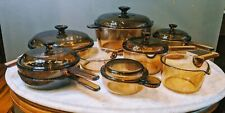 Vintage Corning Pyrex Vision Ware   Amber   Glass Cookware   15 pc Set   Wow!