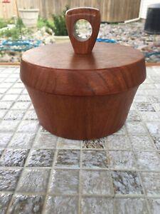 Beautiful Genuine Vintage MCM Burma Teak Wood Bowl with Lid