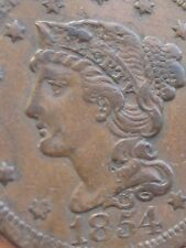 1854 Braided Hair Large Cent Penny- VF/XF Details