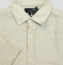 "BLOOMINGDALE'S Men's ""Khaki Stripe"" Linen SS Button-Front Shirt (M) NEW NWT $88"