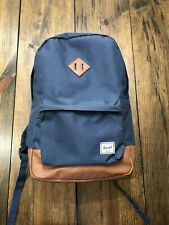 HERSCHEL Backpack Classic Blue Tan Leather Luxury Gear Back Pack