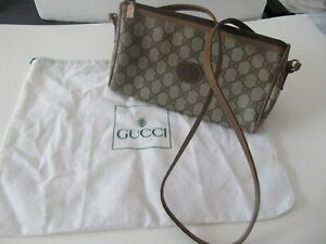 Authentic Vintage 80's GUCCI Classic GG Monogram PVC Vinyl Small Crossbody Bag