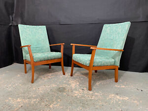 EB1230 Pair of Beech & Turquoise Fabric Arm Chairs Mid-Century Modern Lounge