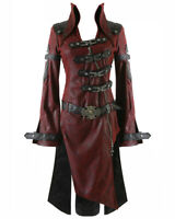 Punk Rave Shadow Jacket Mens Red Black Goth Steampunk Faux Leather Coat