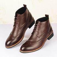 Mens lace up dress formal leather shoes oxford Brogue wing tip ankle boots new