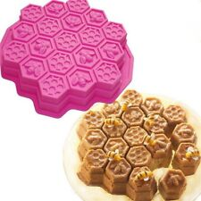 3D Bee Honeycomb Silicone Cake Mold Chocolate Soap Candle Kitchen Mould KjGoF