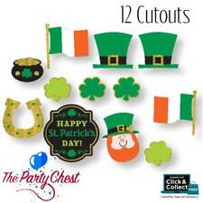 12 ST PATRICK'S DAY GLITTER CUT OUTS Mega Value Irish Party Decoration 190565