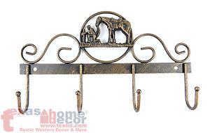 Praying Cowboy Key Holder Tin Metal Anti-Rust Copper Finish 4 Hooks Western NEW!