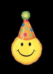 "39"" Party Hat Emoji Smiles Foil Balloon SuperShape Anangram NEW"