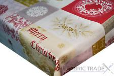 Merry Patchwork Gold Christmas PVC Vinyl Tablecloth Xmas Kitchen Table Protector