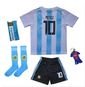 Youth Argentina Lionel Messi #10 Away Soccer Kids Jersey+Short Set Sizes Gifts26