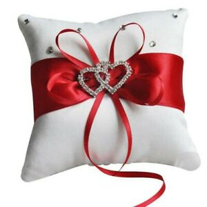 Bridal Wedding Ceremony Ring Bearer Pillow Cushion Crystal Double Colour Heart