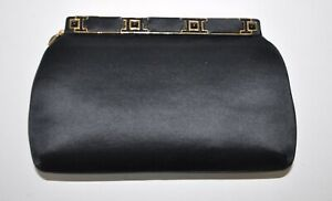 Judith Leiber Black Satin Purse Evening Bag Clutch Gold Crystal Onyx Closure