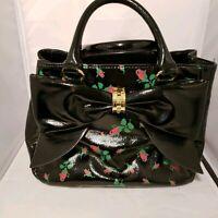 Betsey Johnson Purse Rose Bow Black Patent Handbag Satchel
