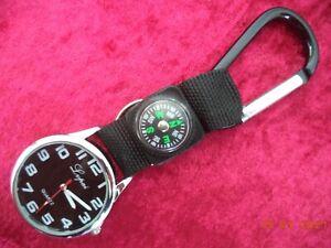 Taschenuhr Multitool Uhr + Kompass + Karabiner + Schlüsselring  NEU+OVP Anhänger