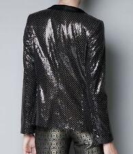 Zara Nero a Pois con Lustrini Blazer Con Colletto Smoking Taglia S