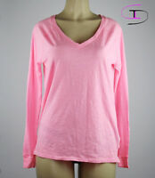 NWT VICTORIA'S SECRET PINK V-NECK LONG SLEEVE SHIRT SLEEPWEAR SMALL  G176+