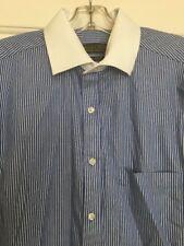Mens Donald Trump size 15.5 neck 32/33 long sleeve blue & white striped shirt