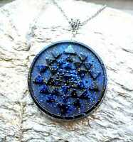 Orgone orgonite Sri Yantra pendant. with stones and crystals, chakra .Unisex