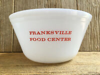 Federal White Milk Glass Franksville Mixing Bowl Vintage Advertising KitchenWare