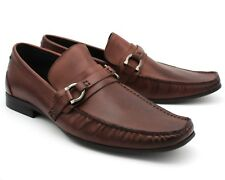 *329A NEW MEN'S CHOCOLATE BROWN LEATHER BUCKLE MOCCASIN LOAFER UK 8 / EU 42