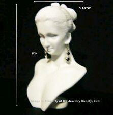 "White Combination Necklace Earring Polystyrene Display Bust 5 1/2""W  x 8""H"