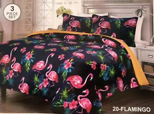 FLAMINGOS BLUE BLANKET WITH SHERPA VERY SOFTY THICK AND WARM 3 PCS QUEEN SIZE