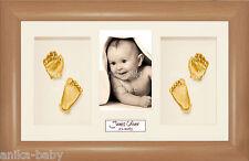 NUOVA GRANDE BABY CASTING KIT REGALO ORO Mano & piedi getta FAGGIO EFFETTO LEGNO CORNICE