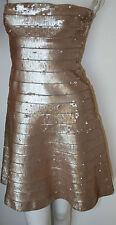 authentic Herve Leger Frappe gold sequin strapless bandage Mellie dress new M