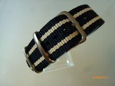 Uhrenarmband Durchzugsband 18 mm schwarz beige schwarz NATOBAND Dornschließe