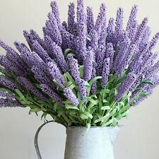 12 Heads Artificial Lavender Flower Leaves Bouquet Home Wedding Garden Decor LTU