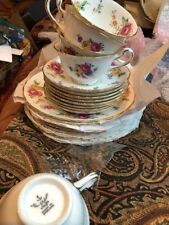 Chelsea Staffs Tea Cups And Sauces,With Floral and Gold Trim Made in England