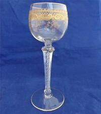 Vintage St Louis Crystal Cut Glass Gilded Bowl Wine Glass Faceted Air Twist Stem