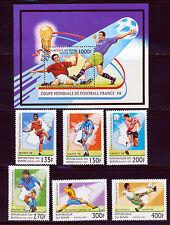BENIN 1997 FRANCE WORLD CUP SOCCER SET SCOTT 966-71 + 972 SOUVENIR SHEET