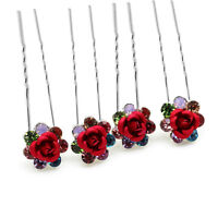 Luxury Bridal Colourful Flowers 4 Hair Pins Accessories Head Decoration HA205A