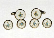 NEW Mens Gold Blue Masonic Mother of Pearl Cuff Links Studs Master Mason Set