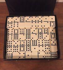 Vintage Dominoes Double 12 Pressman - 91 Pieces - Vinyl Case Euc - L@K