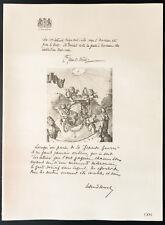 1926 - Lithographie citation du Comte Jean de Mérode, Duc d'Ursel. Guerre 14/18