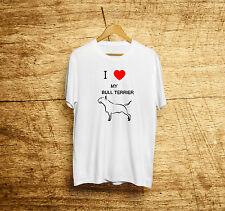 Camiseta moda verano personalizada I love my bull terrier