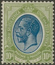 South Africa 1913 KGV 10sh Deep Blue and Olive-Green Mint SG16 cat £180