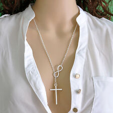 Infinity Cross Pendant Silver Chain Necklace Women Girl Wedding Event Hot Gift