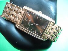 BULOVA CARAVELLE NEW YORK 44L120 LADIES WATCH ROSE G/P CRYSTAL BEZEL BROWN DIAL