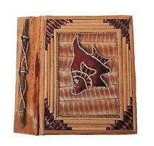 "Small Handmade photo album,leaves+handmade paper Fish decortions 8""x7.5"" new"