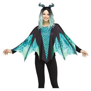 Womens Green Dragon Dinosaur Bat Halloween Medieval Costume Poncho Cape Wings