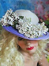 Vintage 1940-50 French Lilac floral Hat soft straw Purple Chiffon front brim