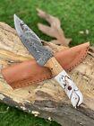 """8""""MH KNIVES CUSTOM HANDMADE DAMASCUS STEEL FULL TANG HUNTING/SKINNER KNIFE D-41l"""