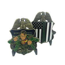 "2.5"" SUPERMAN BORDER PATROL THIN GREEN LINE CHALLENGE COIN"